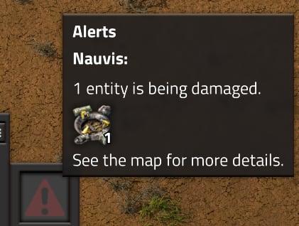 A screenshot of an alert message mentioning Nauvis