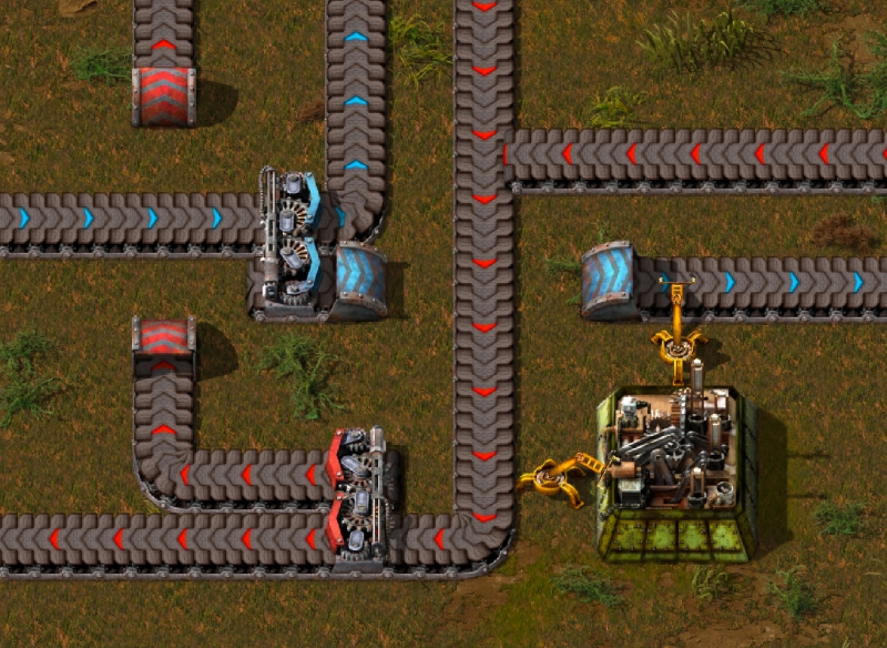 Screenshot of two separate lines of belts being woven together
