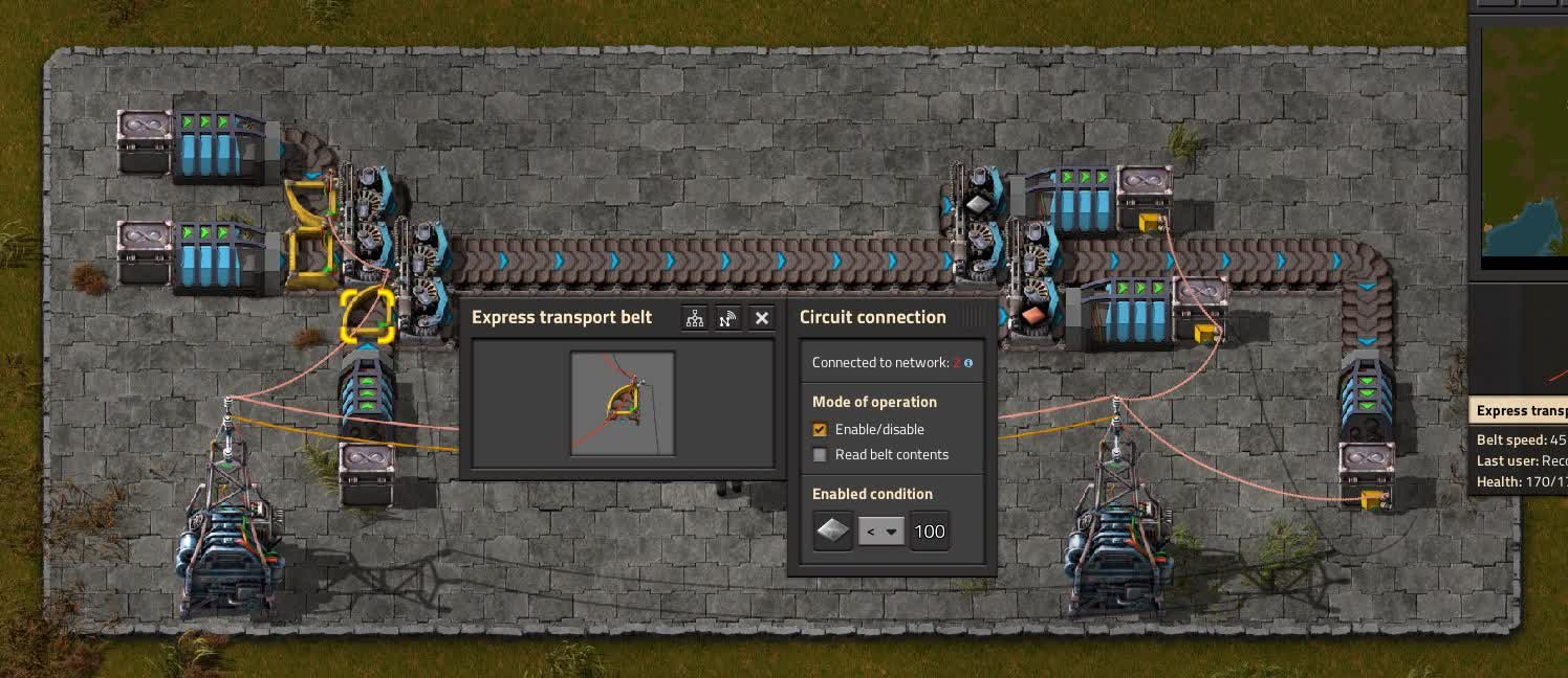 An example circuit condition for a logistics belt.