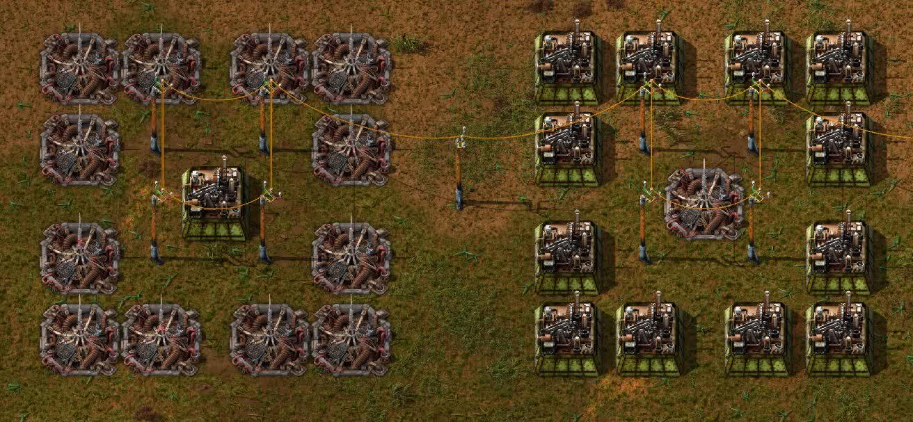Beacons surrounding an assembler and vica versa.
