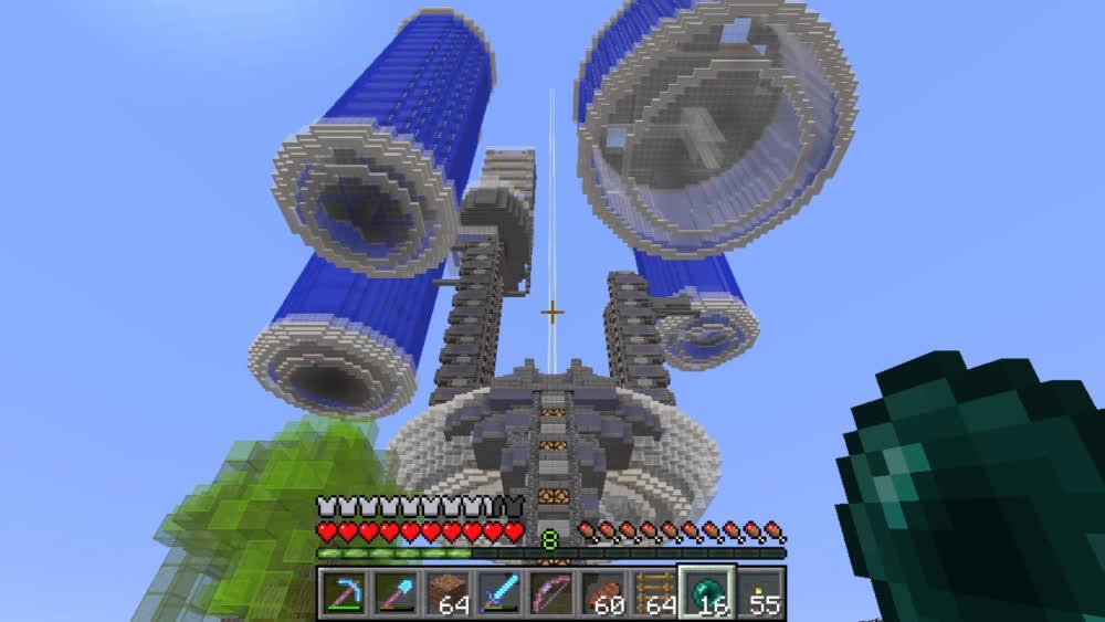 Zisteau se kouká na jeho minecraft stavbu - The Arcology