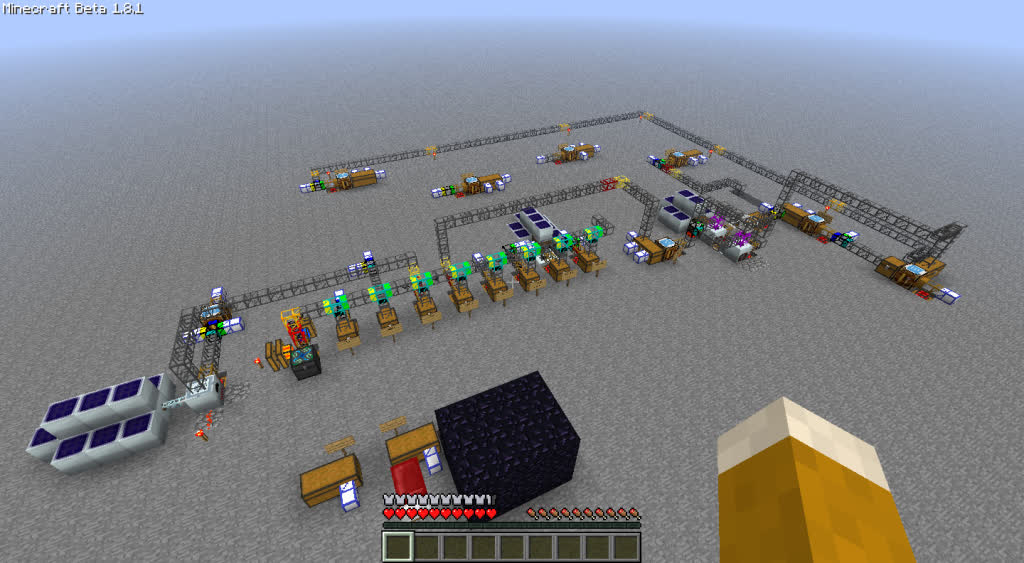 Example of an assembly line in IndustrialCraft2