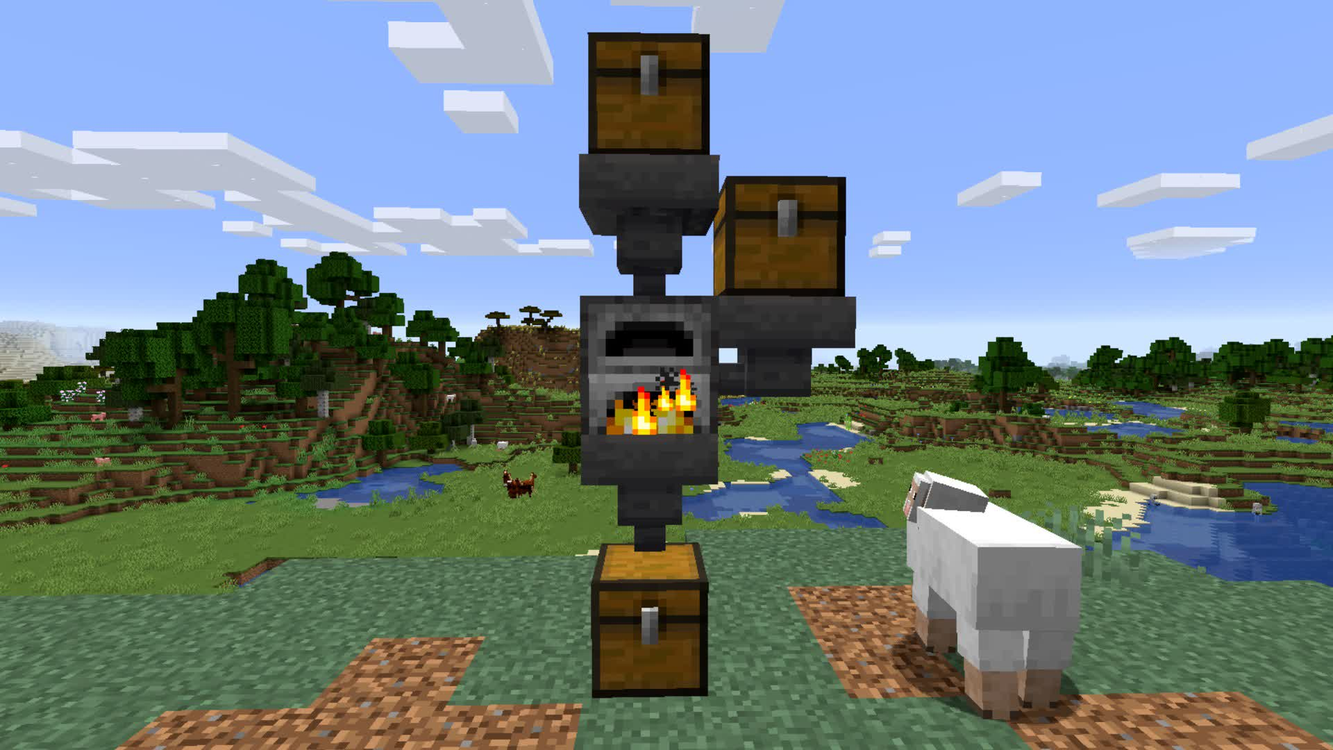 A simple smelting setup in vanilla Minecraft