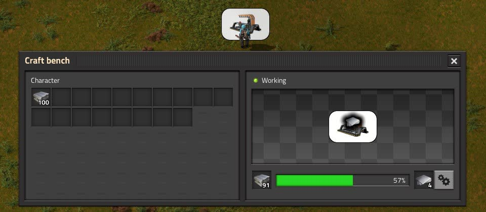 GUI of craft bench showing iron plates being crafted